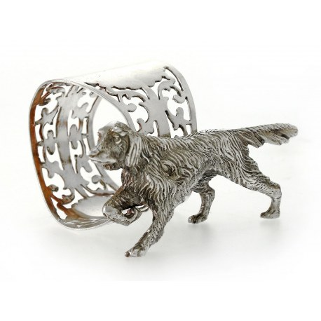 Silver Napkin Ring with Applied Figure of a Retriever Dog
