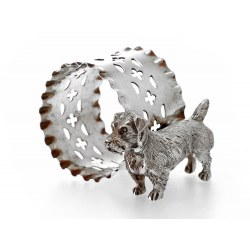 Silver Napkin Ring with Applied Figure of a Terrier Dog