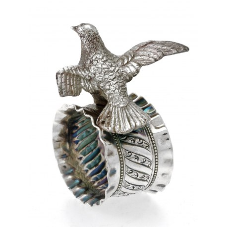 Silver Napkin Ring with an Applied Figure of a Dove