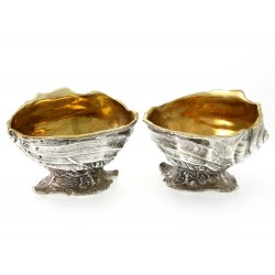 A Pair of Silver Plated Salts in the Shape of a Shell