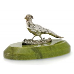 Victorian Silver Pheasant on Green Onyx Base Paper Weight