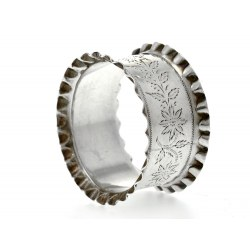 Antique Silver Napkin Ring with Flowers & Leaves 1899