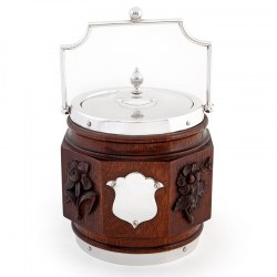 Antique Eight Sided Late Victorian Oak and Silver Plated Barrel with White China Liner