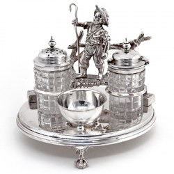 Victorian Shepherd Boy Silver Plate and Cut Glass Cruet Set