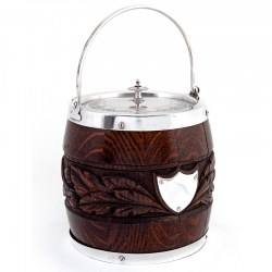 Victorian Oak and Silver Plated Barrel with a Carved Band of Oak Leaves and Acorns