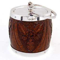 Carved Wood and Silver Plated Barrel with a White China Liner