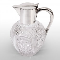 Late Victorian Silver Claret Jug with Clear Cut Glass Baluster Shaped Body