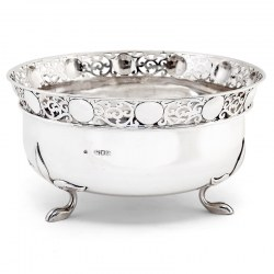 Edwardian Wakley & Wheeler Silver Bowl with Art Nouveau Foliage Style Feet