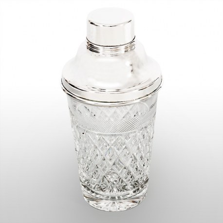 Vintage Silver Plate and Cut Glass Three Section Cocktail Shaker
