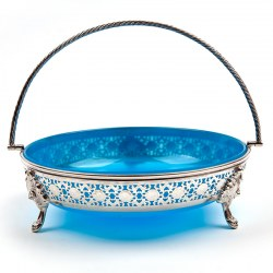 Large Victorian Circular Blue Opleine Glass Lined Silver Plated Basket