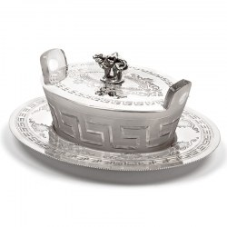 Oval Victorian Silver Plated Butter Dish with Pull Off Lid and Cat Finial