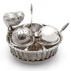 Mappin & Webb Silver Plated Condiment Set with a Cast Chick Perched on a Woven Basket