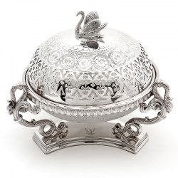 Victorian Silver Plated Butter Preserve Dish with Opeline Glass Liner