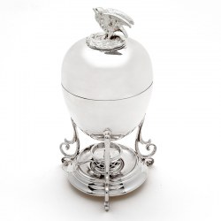Victorian Silver Plated Egg Boiler with Chicken Shaped Finial