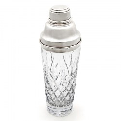 Oversized Vintage Cut Glass and Silver Plated Cocktail Shaker