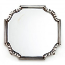 Unusual Vintage Square Shaped Silver Salver on Four Hoof Feet
