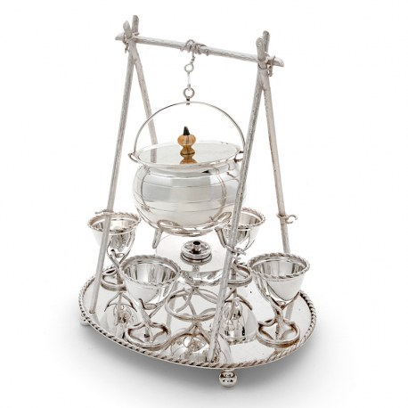 Victorian Novelty Silver Plated Egg Coddler with Four Egg Cups