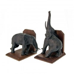Pair of Bronze Statue Standing Elephant Bookends