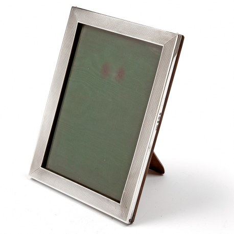 Vintage Silver Photo Frame with an Engine Turned Style Border