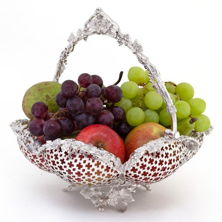 Decorative Cast Victorian Silver Plated Basket with a Pierced Ribbed Body