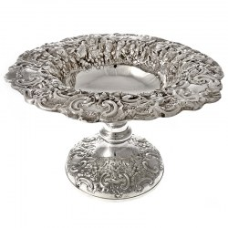 Very Ornate Antique Silver Hand Chased Centre Bowl (c.1900)