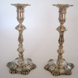 Attractive Pair of George II Style Silver Candlesticks (1970)