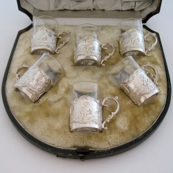 Beautiful Late Victorian Silver Liquor Set with Detachable Clear Glass Cups