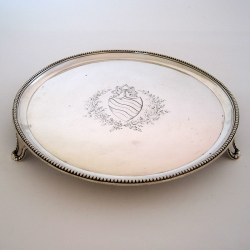 Circualr George III Silver Salver with a Beautiful Floral and Garland Cartouche