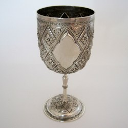 Victorian Silver Goblet Chased with a Pineapple and Floral Pattern