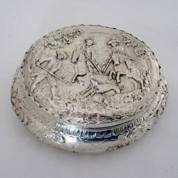 Antique Dutch Import Oval Silver Box with Hunting Scenes