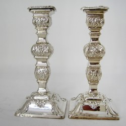Pair of Ornate Late Victorian Silver Candlesticks (1899)