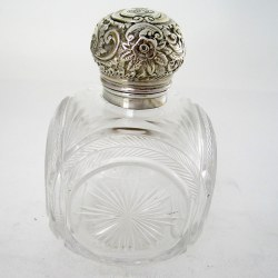 Unusual Large Square Shaped Late Victorian Silver Capped Perfume Bottle