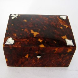 Victorian Chester Silver and tortoiseshell Playing Card Box (1896)