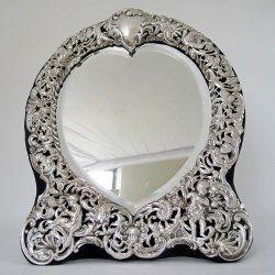 William Comyns Victorian Heart Shaped Silver Dressing Table Mirror (1896)