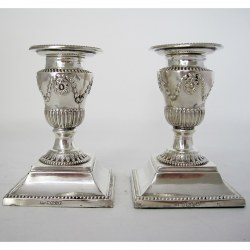 """Pair of Victorian 11.4cm (4.5"""") Silver Candlesticks (1876)"""