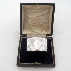 Boxed Victorian Silver Napkin Ring Engraved with Floral Festoons (1885)