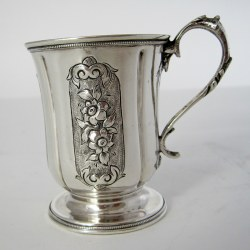 Victorian Silver Childs Christening Mug with a Cast Floral Handle (1862)