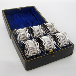 Boxed Set of Six Late Victorian Silver Plated Napkin Rings (c.1895)