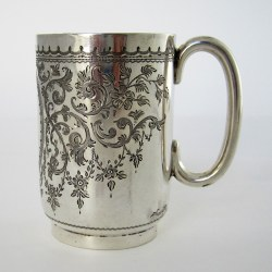 Late Victorian Hand Engraved Silver Christening Mug with gilt Interior (1900)
