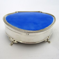 Large Size Silver Jewellery or Trinket Box with Blue Enamel Lid (1928)