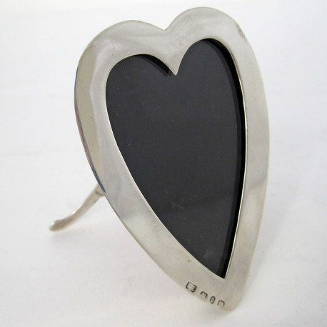 Victorian Silver Heart Shaped Photo Frame with read Leather Back (1895)