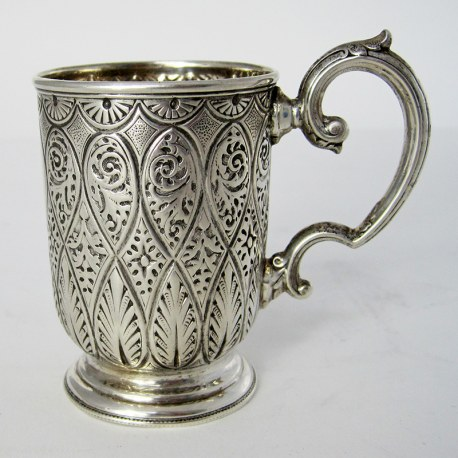 Victorian Silver Christening Mug with a Floral Scroll Handle (1882)