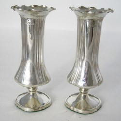 Pair of Edwardian Silver Vases with a Crimped Scalloped Rim (1904)