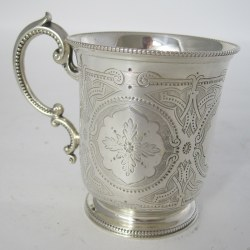 Victorian Tapering Cylindrical Silver Christening Mug with Scroll Handle