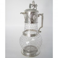 Superb Quality Victorian Silver Plated Claret Jug with Lion and Shield Finial
