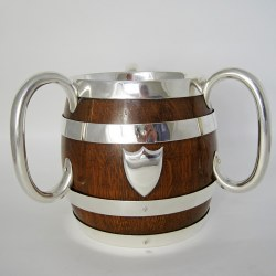 Late Victorian John Grinsell Oak and Silver Plate Three Handle Loving Cup
