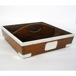 Stylish Oak and Silver Plated Square Cutlery Container