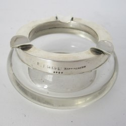 Very Smart Mappin & Webb Silver and Clear Glass Circular Ash Tray