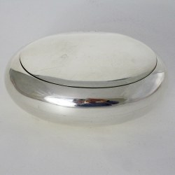 Completely Plain Pebble Shaped Silver Tobacco Box