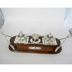 Decorative Late Victorian Oak and Silver Plate Ink Stand